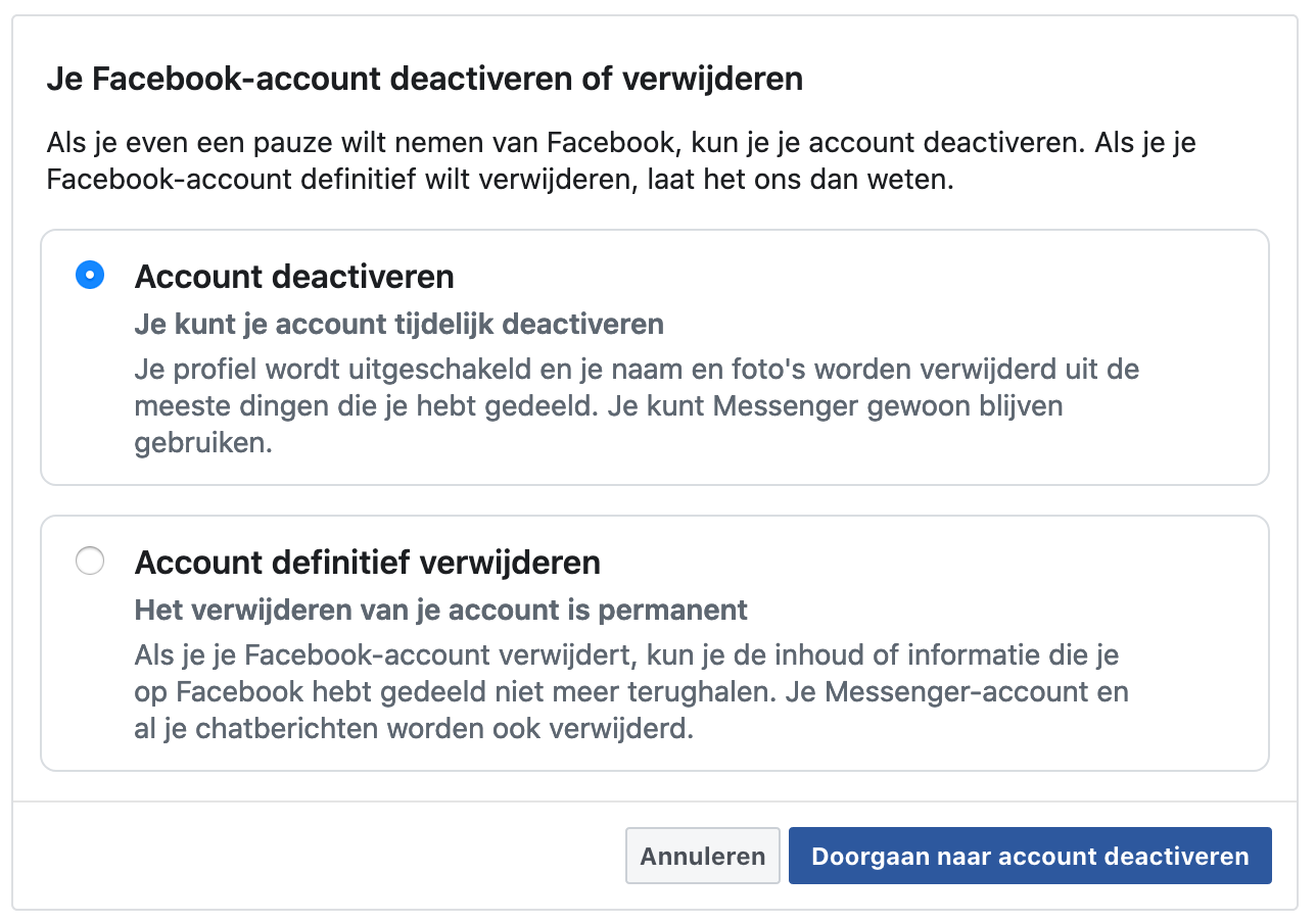 Facebook deactivation