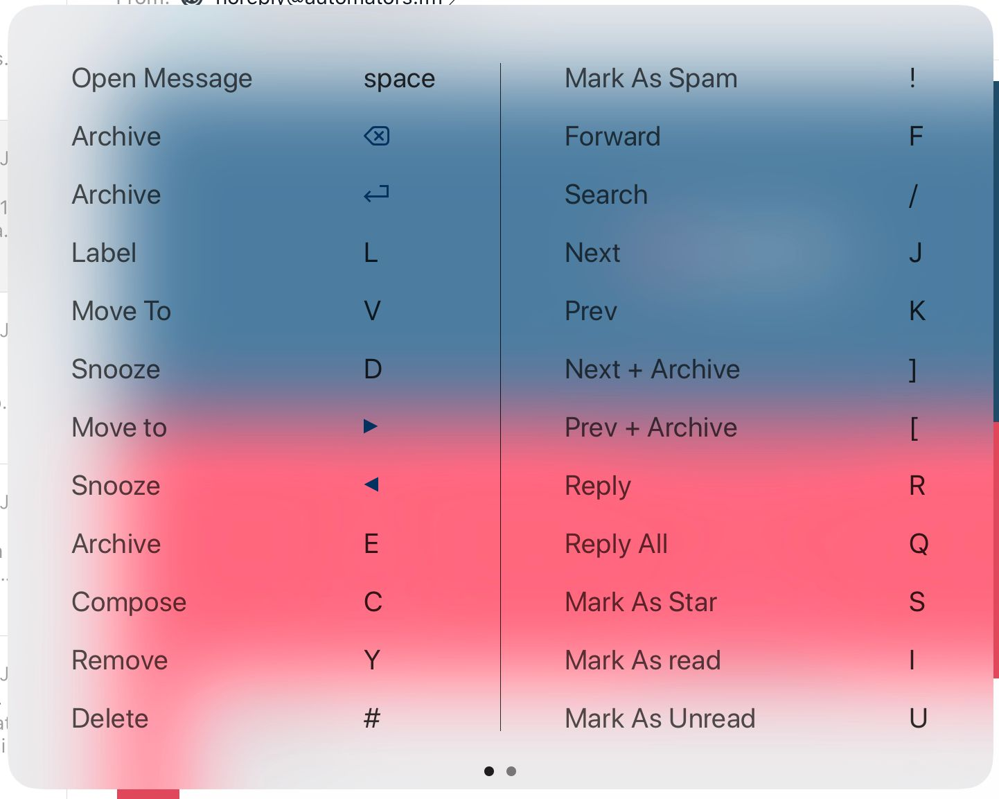 Airmail Keyboard Shortcuts