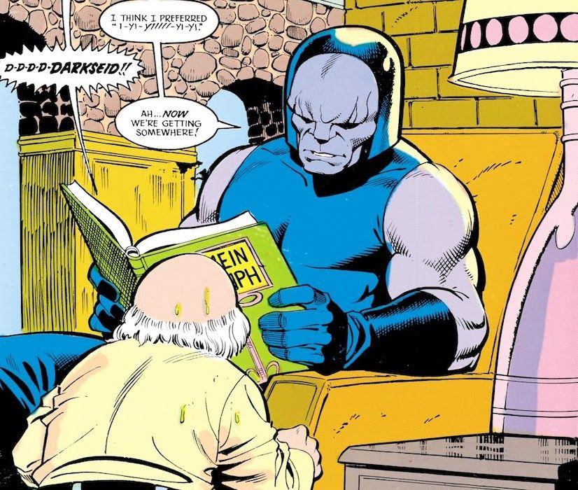 Darkseid reading dictator (JLI #21 1988)
