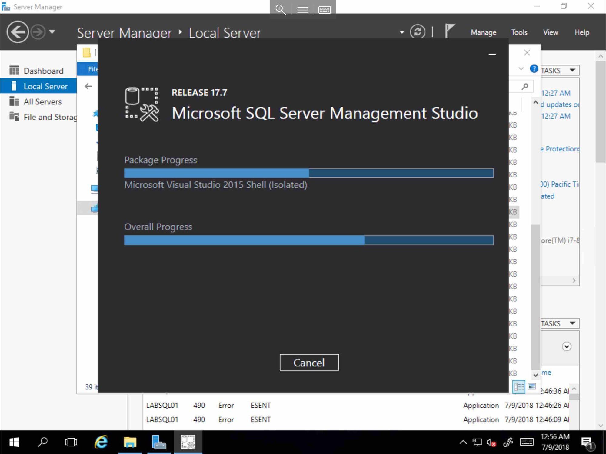 Screenshot of MS SQL installing