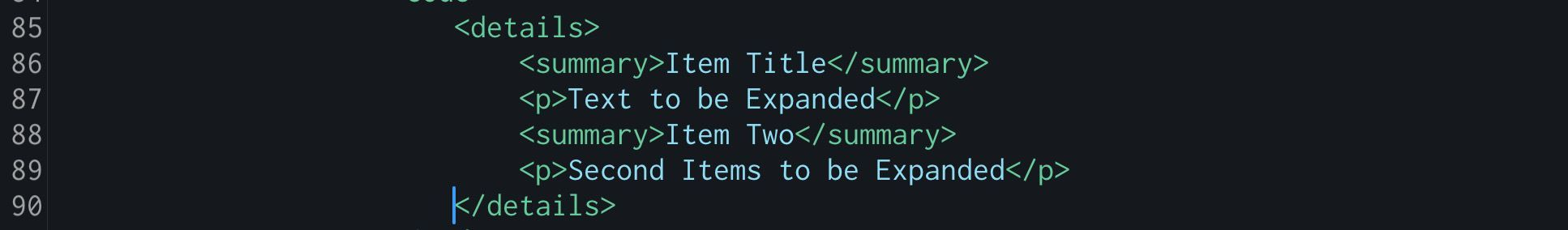 HTML details tag example