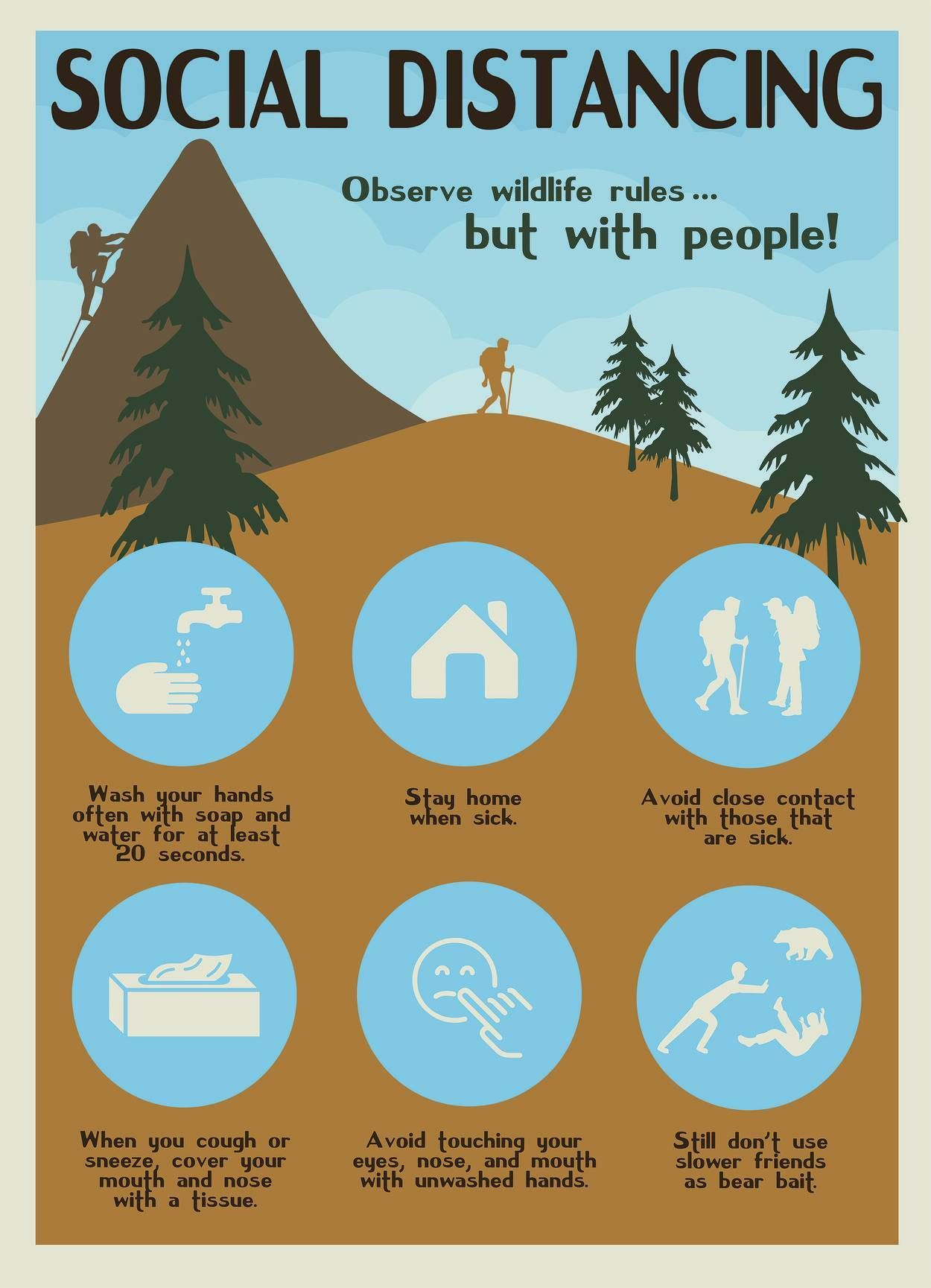 national parks social distancing poster