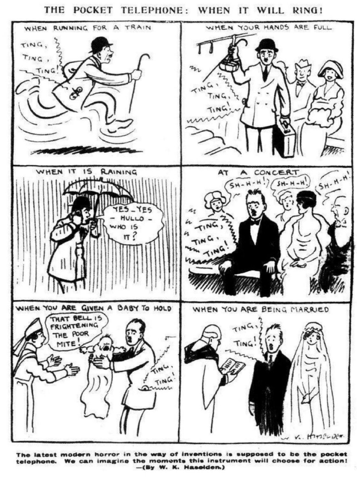 A 1923 prediction of the horror and inconvenience that would occur if anyone invented a mobile phone