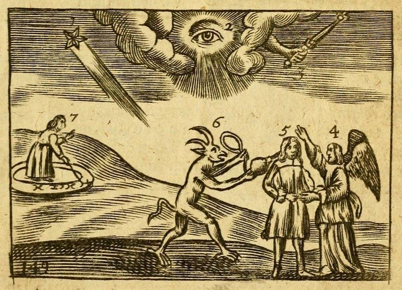 """Illustration for """"God's Providence"""", from the 1705 English edition of Orbis Sensualium Pictus"""