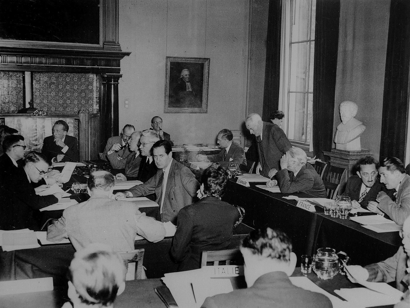 Many of CERN's founders gathered for the Third Session of the provisional CERN Council in Amsterdam on 4 October 1952