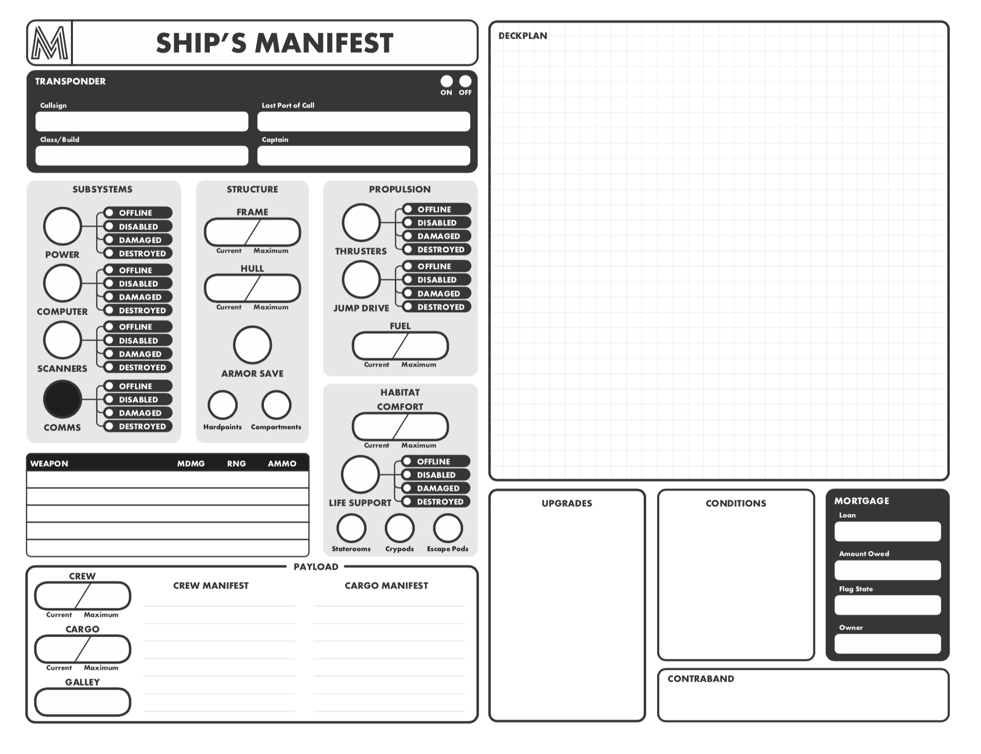 Work in progress. A brand new Ship Manifest. Coming soon in the Mothership Boxed Set