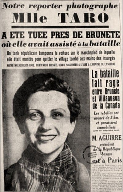 A French paper's announcement that Gerda Taro had died covering the war.