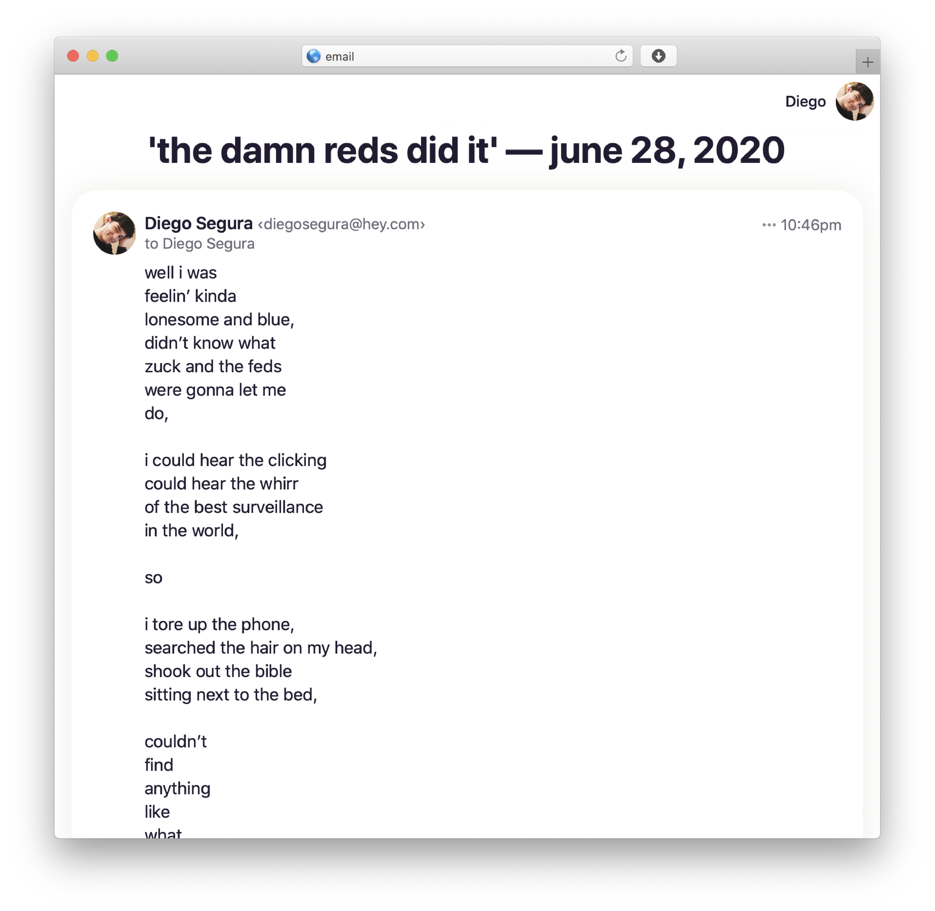 a screenshot of the emails you'll receive. just poems. plain text. no advertisements.