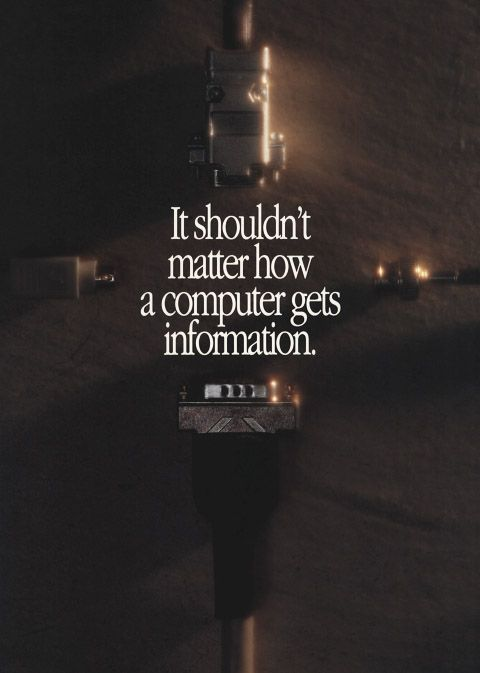 "Apple Computer brochure - front cover. ""It shouldn't matter how a computer gets information"""