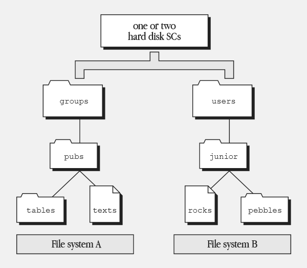Figure 5-3 Logical file systems compared with physical hardware