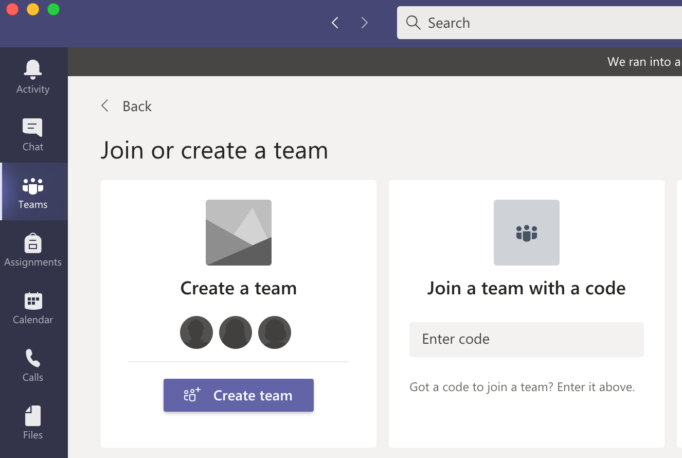 Create a TEAM for your course
