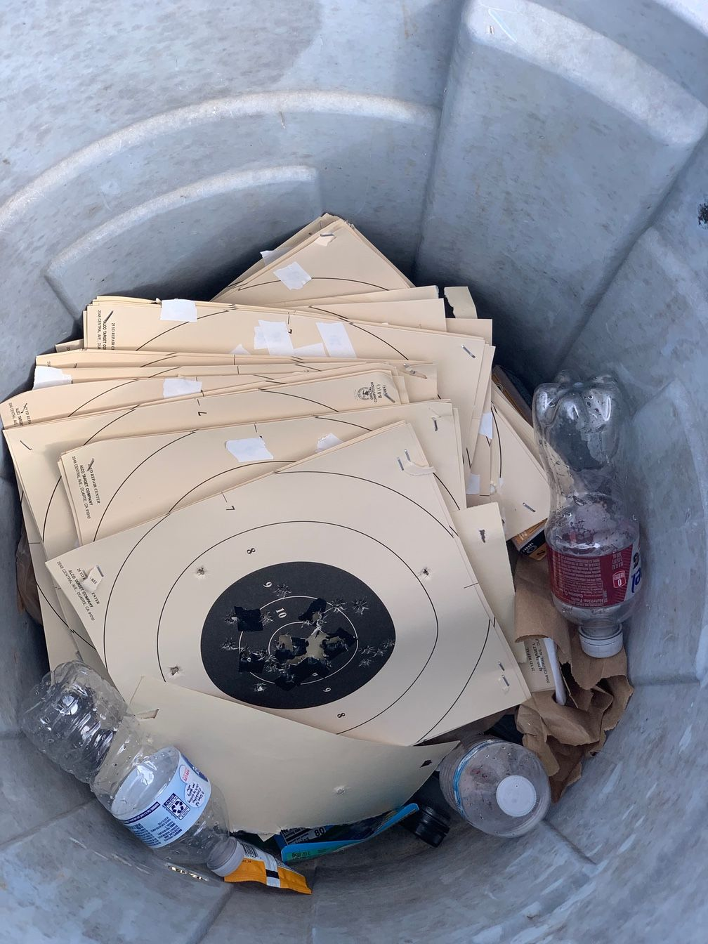 Trash can full of B-8 targets