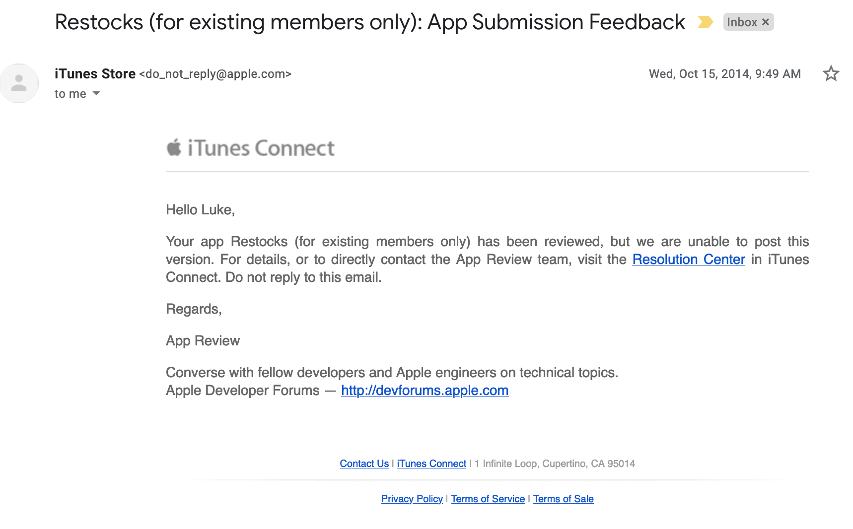 "Apple's ""feedback"" for me"