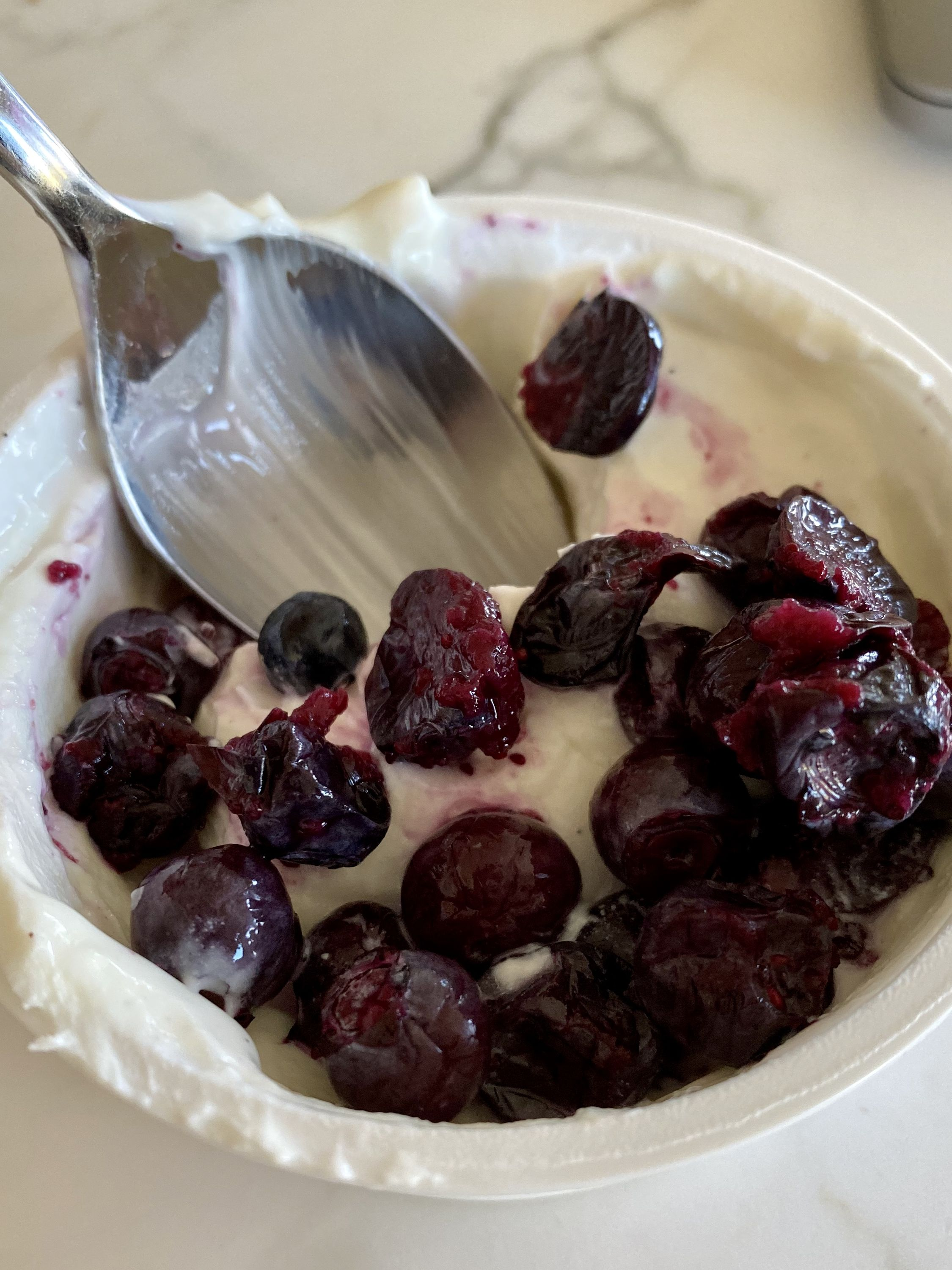 Yogurt with lacto-fermented blueberries on top