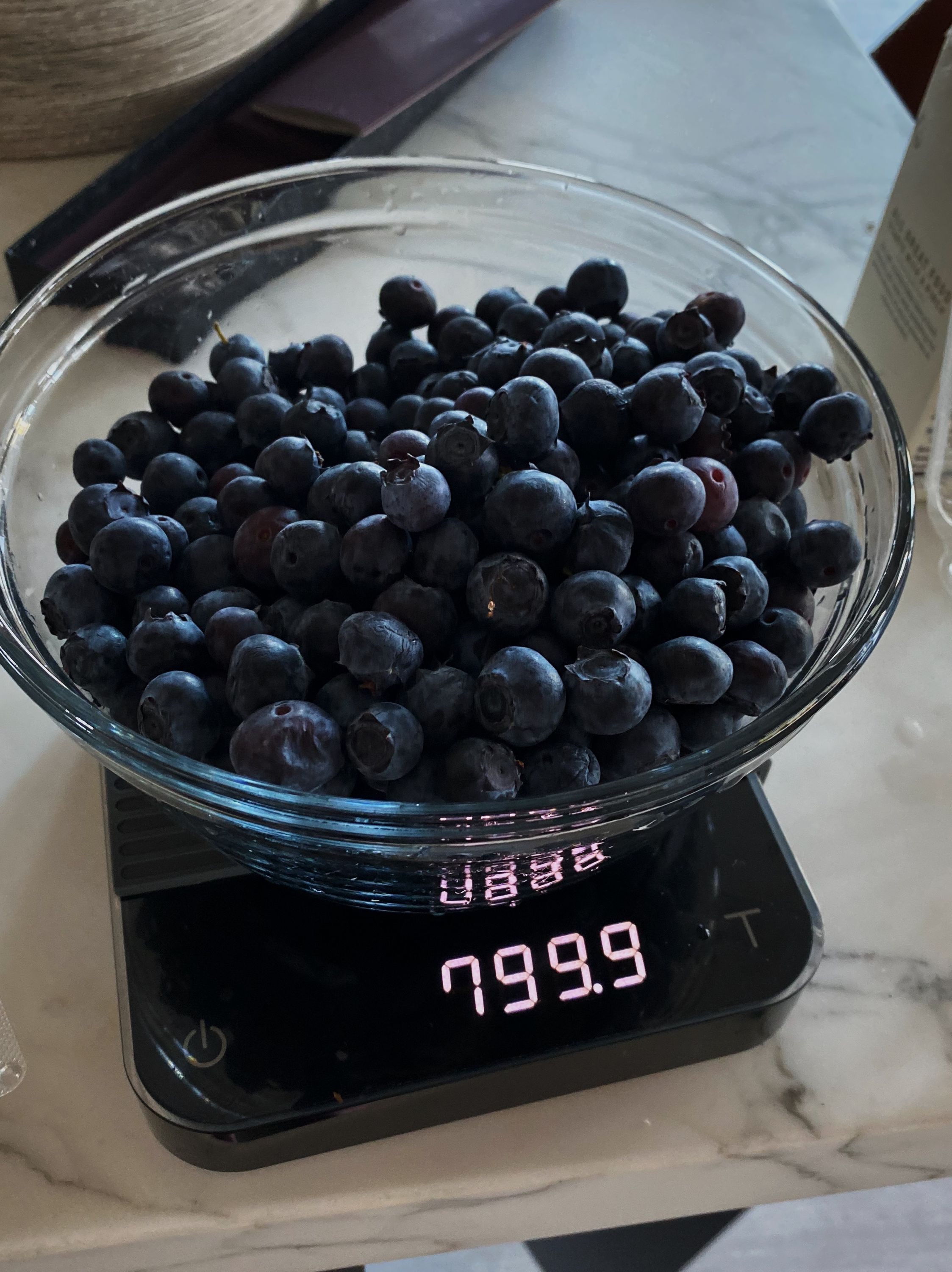 Blueberries on a scale