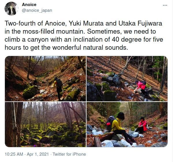 Screen capture of a post including pictures showing members of Anoice climbing up a hill that look suspicously like they've been rotated to make it look steeper.
