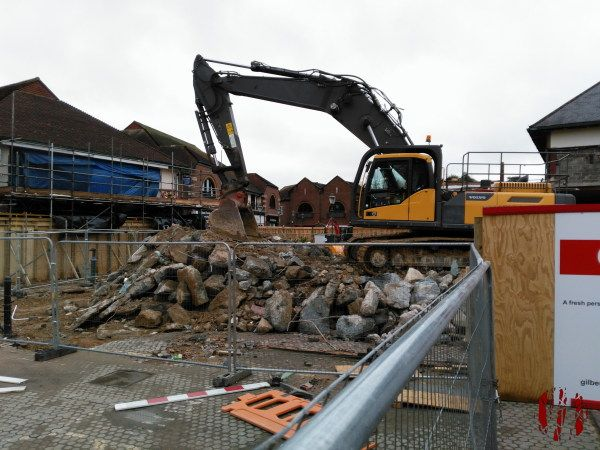 The old Waitrose building in the centre of Horsham being demolished.