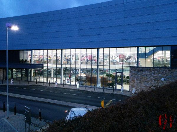 The new Horsham Waitrose as seen from the side and above late afternoon showing it's large glass windows