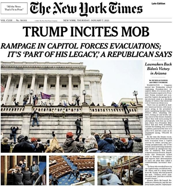 New York Times front page showing the riot in Washington and the invasion of the Capitol building.