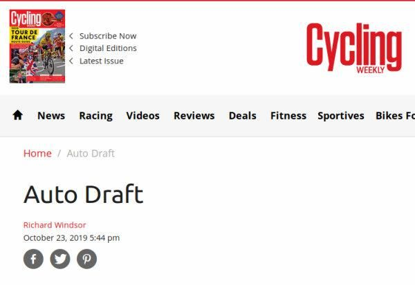 Web post by Cycling Weekly showing only a title, 'Auto Draft'.