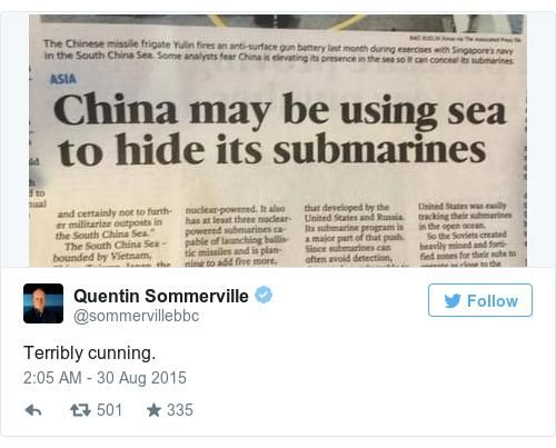 A twitter post showing a newspaper with the headline, 'China may be using sea to hide it's submarines'.