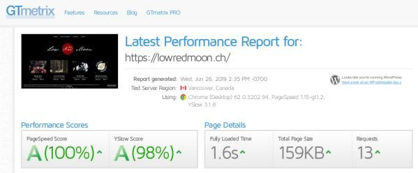 Web speed measurement showing the Low Red Moon website as 100% for PageSpeed and 98% for YSlow.