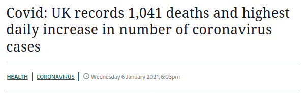 ITV News headline, 'UK records 1041 Coronavirus deaths and highest daily increase in cases'.