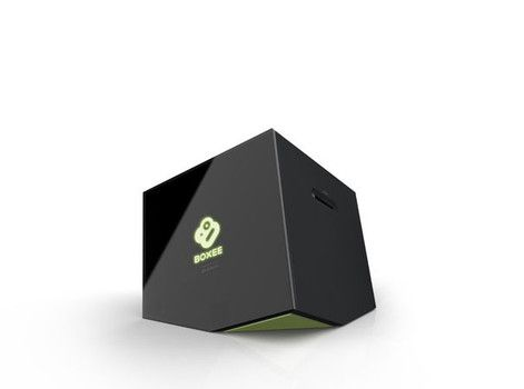 The Boxee box is fitting, looking as though it is sinking backward into oblivion.