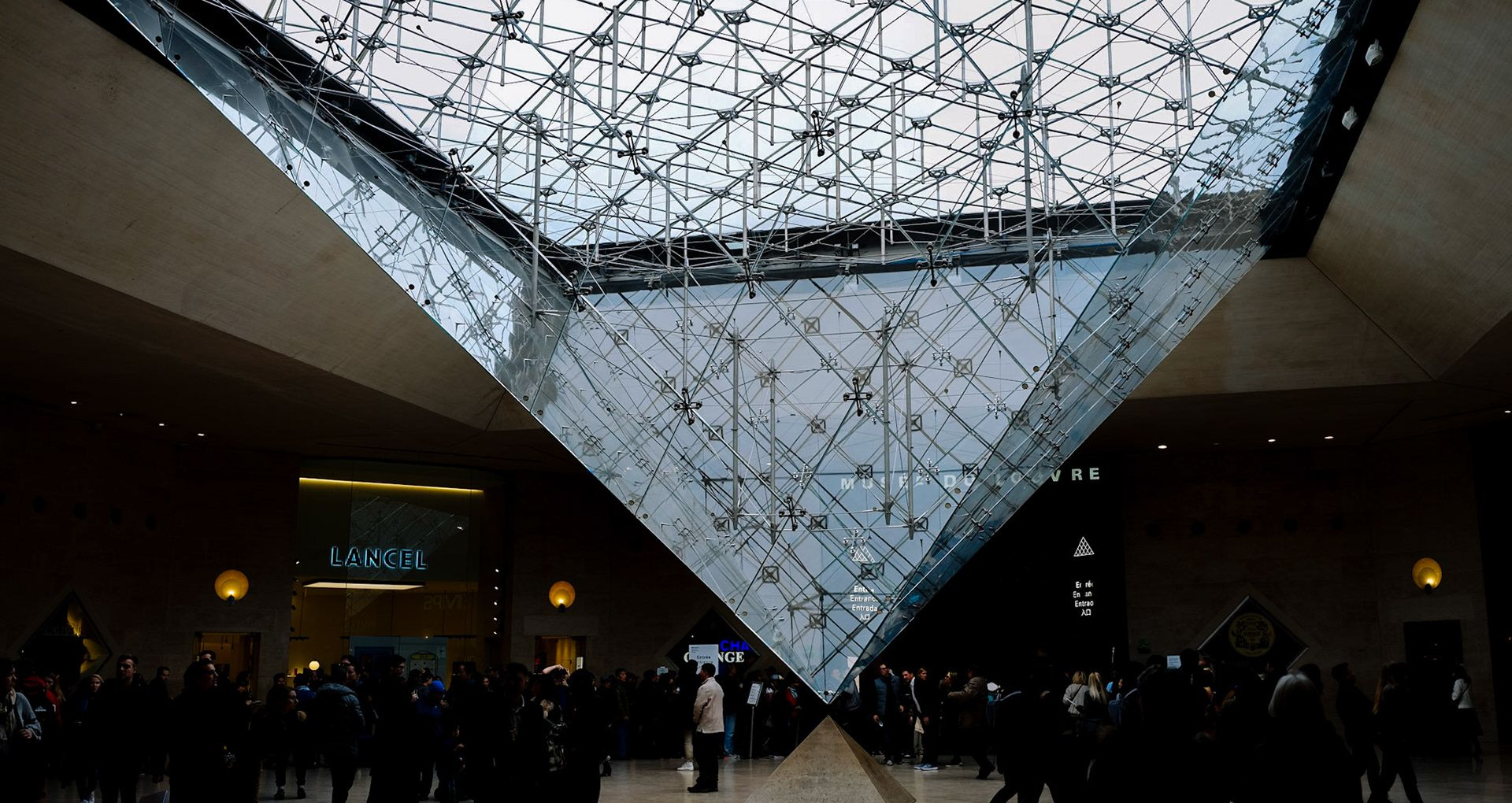 Louvre Museum entrance from below