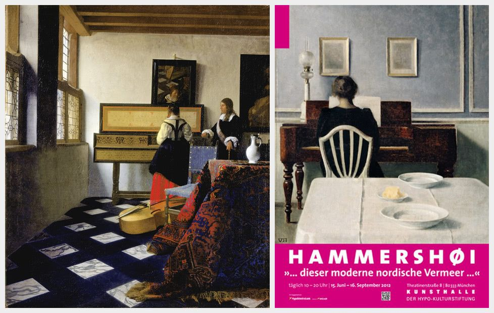 Vermeer's The Music Lesson and Hammershøi's Interior With Woman At Piano