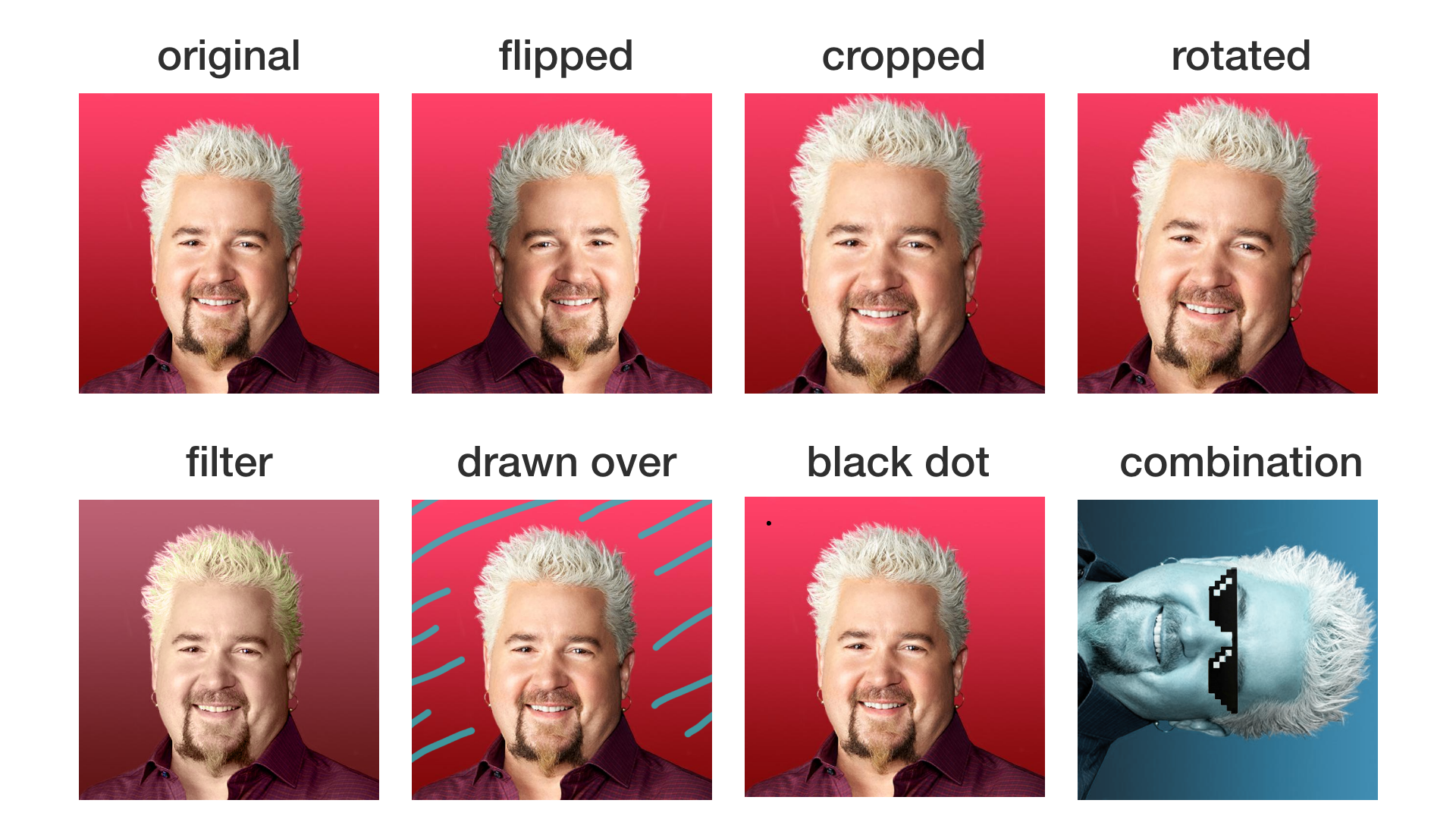"""Some examples of what could be a """"different image"""" from the original."""