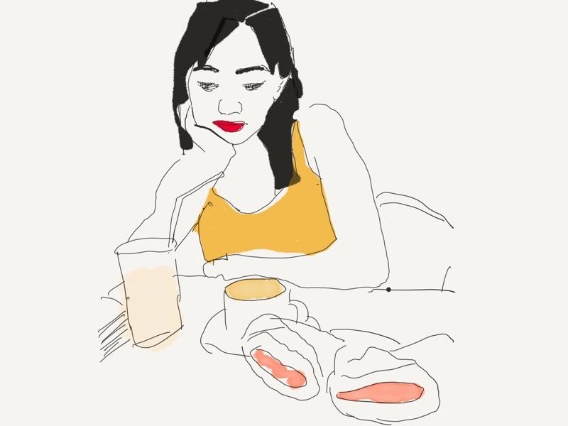 Enjoying the spicy Moroccan sandwich