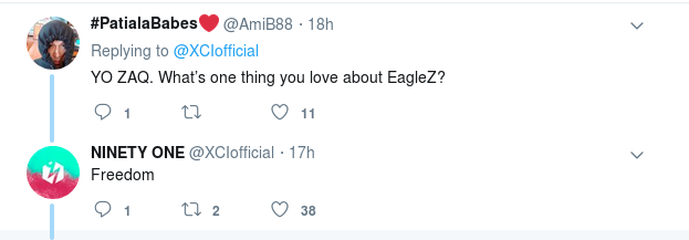 "Picture of a Twitter exchange in which Fatima Bile writes, ""YO ZAQ. What's one thing you love about Eaglez?"" and ZaQ answers, ""Freedom"""