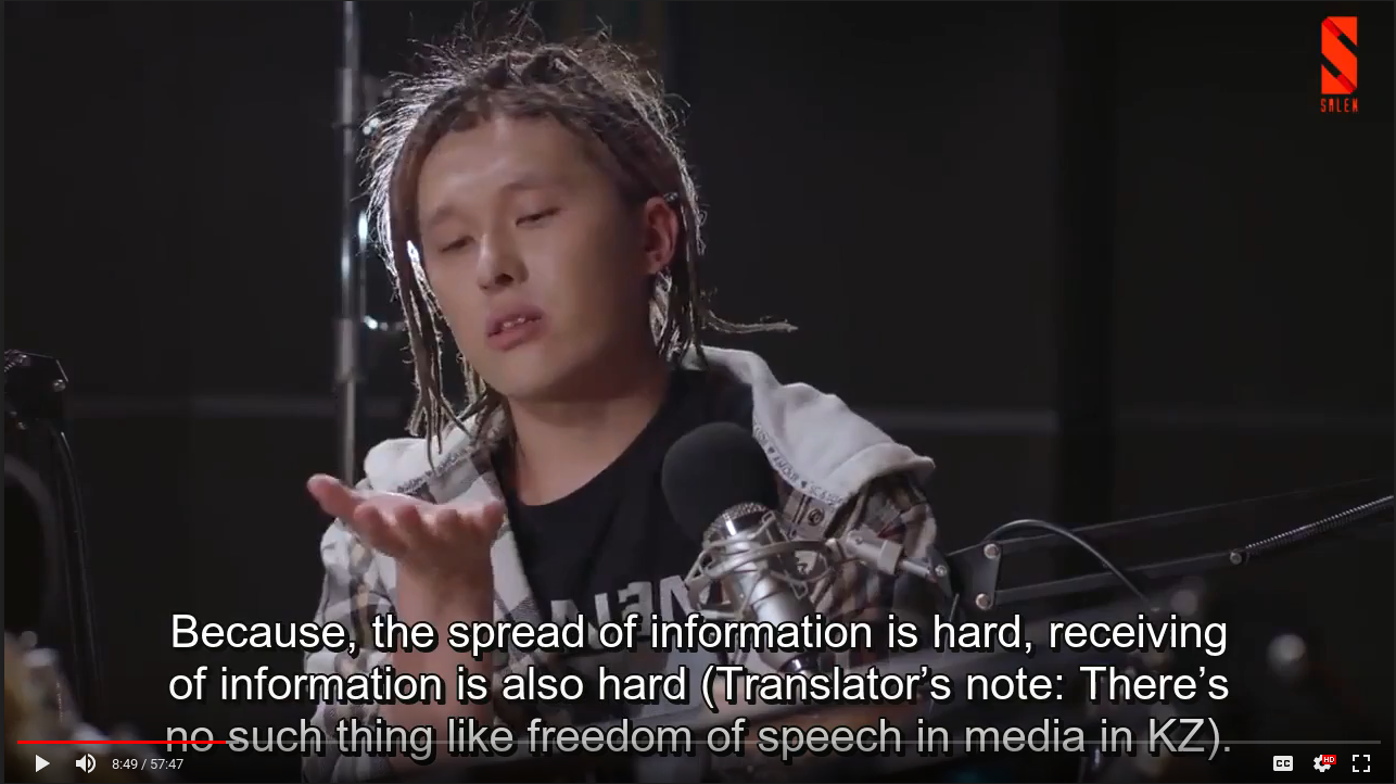 "Screenshot of ZaQ saying, ""The spread of information is hard,"" implied talking about the lack of freedom of speech in Kazakhstan"