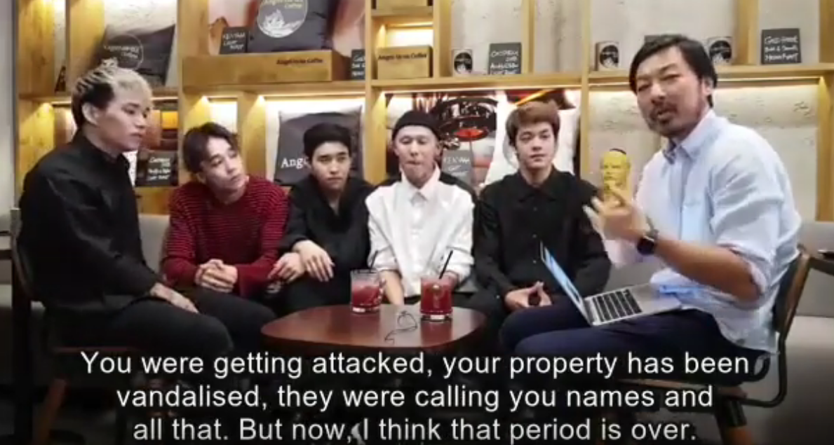 """Image of an interviewer saying to Ninety One, """"You were getting attacked, your property has been vandalized, they were calling you names and all that. But now I think that period is over."""""""