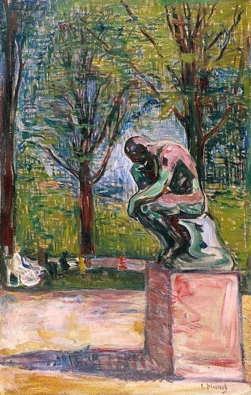 Me reflecting on this semester (The Thinker by Edvard Munch)