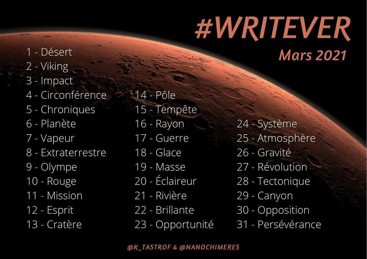 Liste du Writever – Mars 2021