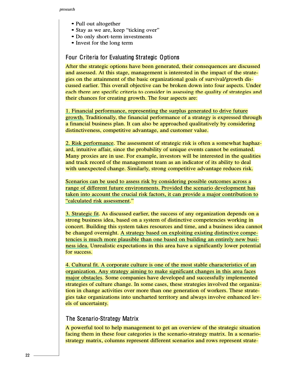 """I tend to go a bit overboard on highlighting sometimes. (This is from van der Heijden's """"Scenarios, Strategy, and the Strategy Process"""", 1997.)"""