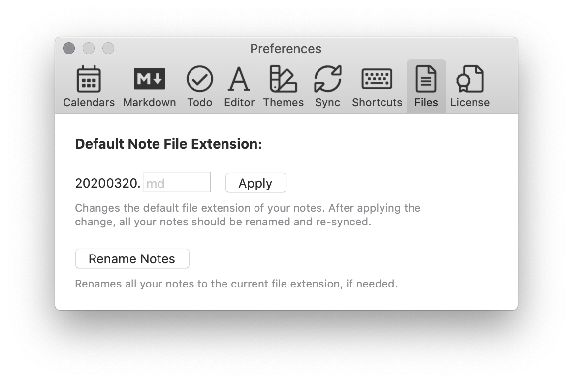 The preferences pane to change file extensions in NotePlan