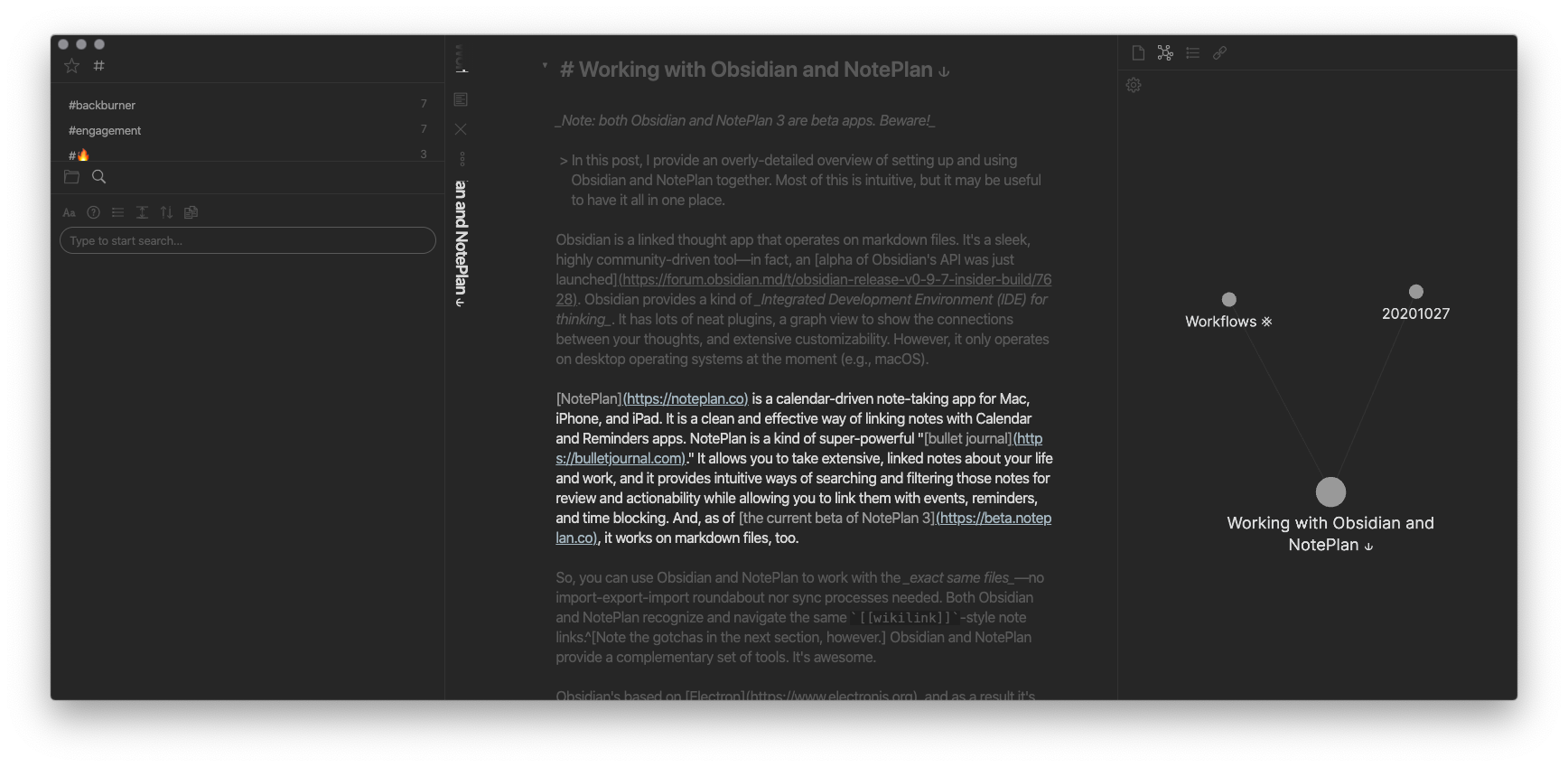 A screenshot of Obsidian with this article in view.