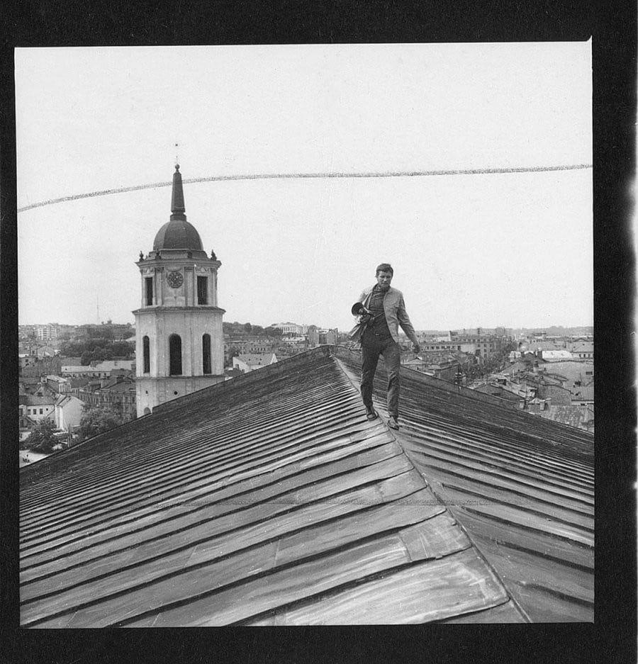 (Fig 1: Vitas Luckus on the roof of Kaunas cathedral, 1971)