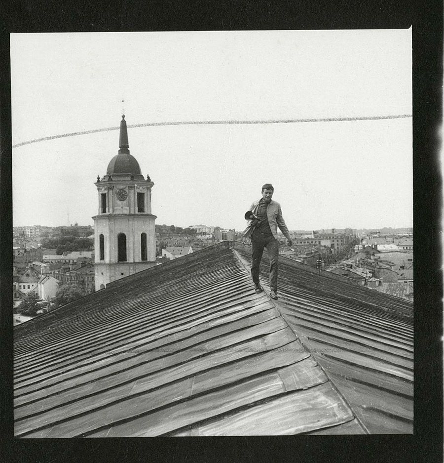(fig 1: Vitas Luckus on the roof of Kaunas cathedral, 1971)