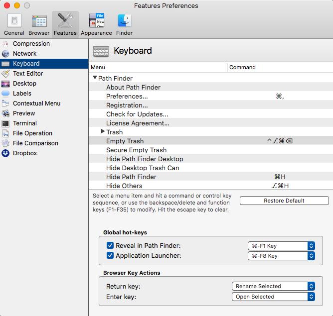 Customizable Keyboard Commands