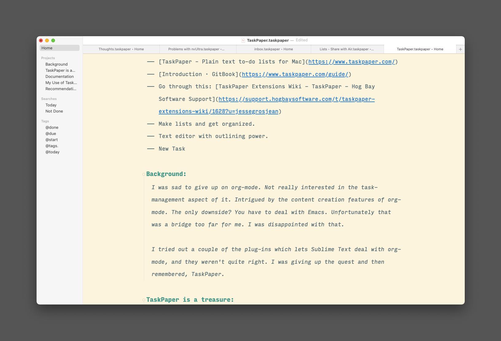 TaskPaper Window