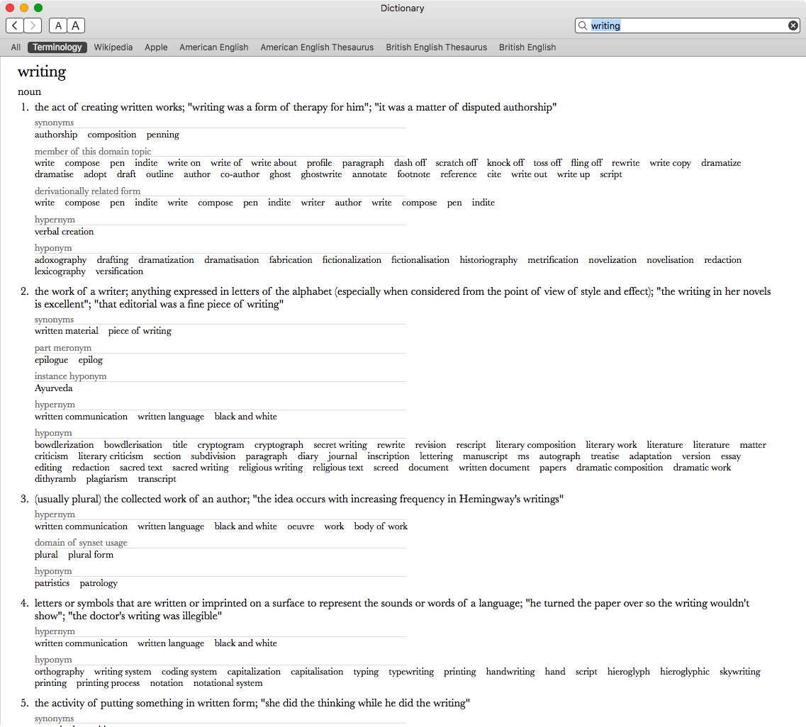 Terminology for macOS