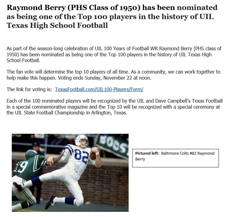raymond berry nominated as top 100 player in uil texas high school football