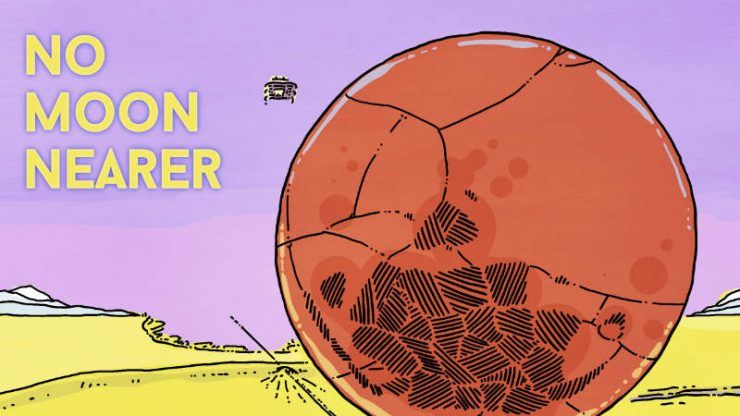 Надпись на картинке: Нет Луны ближе. Надпись под картинкой: Вот, бонусный снимок Ближней Луны. Только для тебя. Ура! Спасибо за чтение! 🙂