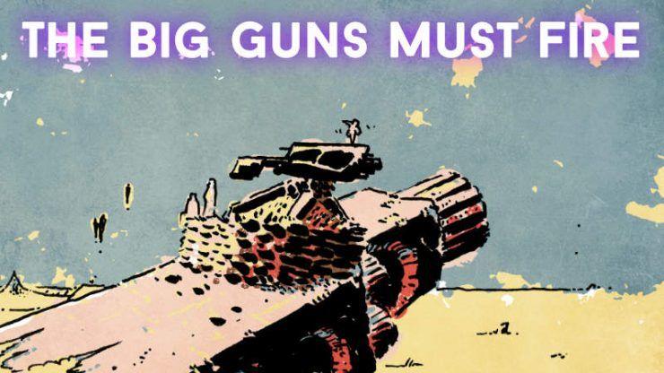 Надпись на картинке: Большие пушки должны стрелять. Надпись под картинкой не переводится без потери игры слов: Fire the anti-canons!