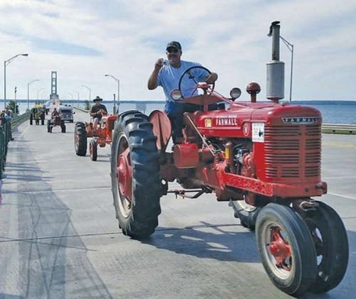 Bridge crossing the Mighty Mac in a tractor