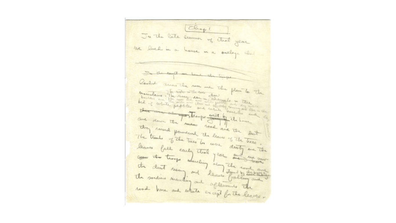 """A page from Ernest Hemingway's draft of """"A Farewell to Arms."""""""